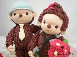 custom wedding cake topper cute monkey doctor love with circle