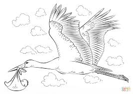 stork with baby coloring page free printable coloring pages