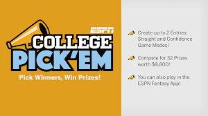 college pick u0027em espn this game challenges you to select the winn