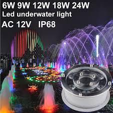 12v Led Pool Light Ip68 Rgb Led Underwater Light Led Pool Light 6w 9w 12w 18w 12v