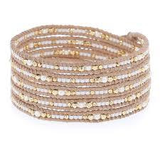 bead wrap bracelet leather images White mix seed bead five wrap bracelet on beige leather chan luu jpg