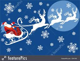 santa with his sleigh illustration