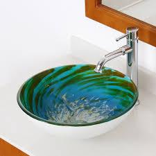 1405 elite modern design tempered glass bathroom vessel sink