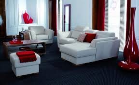 Red White Striped Rug Black And Red Sitting Room Padded Cushions Gray Fur Rug Recessed