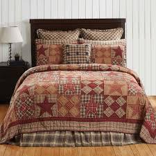 Primitive Home Decors Primitive Country Barn Star Pieced Queen Size Quilt Set Lodge