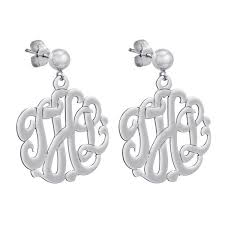 monogram earrings monogram sterling silver earrings monogram jewelry be monogrammed