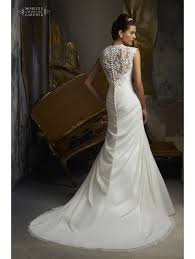 lace wedding dresses uk mori 5103 pleated drape wedding dress with lace detail ivory