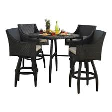 Patio Bar Furniture Sets - rst brands deco 5 piece all weather wicker patio bar height dining