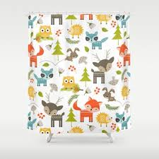 Animal Shower Curtains Woodland Animals Shower Curtain Forest Animals Shower Curtain