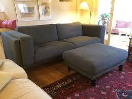 IKEA Nockeby Threeseat Sofa  Footstool Tenö Dark Greywood - Sofa and footstool