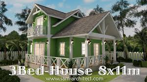 2 stories house 2 story house plan 8x11m with 3 bedrooms sketchup modeling