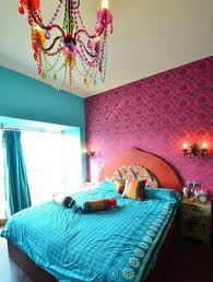 Pink And Teal Curtains Decorating Furniture Feminine Moroccan Bedroom With White Comfort Bed And