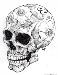 print real sugar skull precision hd hard coloring pages sugar