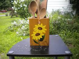 sunflower utensil holder wood utensil holder acrylic