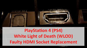 ps4 won t turn on white light playstation 4 ps4 white light of death wlod faulty hdmi socket