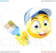 happy thanksgiving smiley face clipart of a 3d painter yellow smiley emoji emoticon face holding