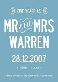 5th year wedding anniversary five year wedding anniversary personalised print by i design