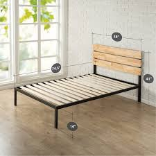 twin size heavy duty metal platform bed frame with wood slats and