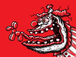 monster head clown cartoon limited palette sketch by george