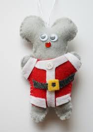 kid made felt mouse ornament