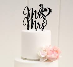 mr and mrs wedding cake topper with music note heart treble and