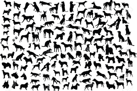 lots of silhouettes of different breeds of dogs in action and