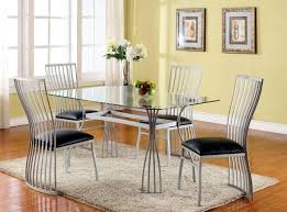 Round Glass Dining Table Set For 6 Dining Room Steel Chairs For Dining Table On Dining Room In Metal