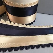 navy blue and white striped ribbon navy satin grosgrain picot ribbon elizabeth emerson designs