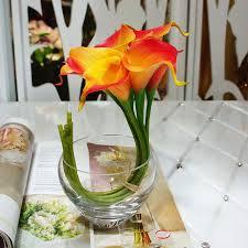 Calla Lily Bouquets Aliexpress Com Buy 9pcs Orange Real Touch Calla Lilies Bouquet