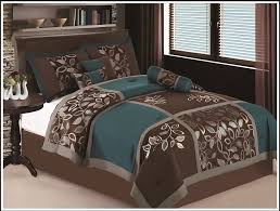 Brown And Blue Bed Sets 7 Pc Full Size Esca Bedding Teal Blue Brown Comforter Set Bed In
