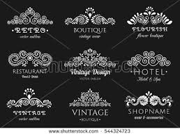 retro flourish set ornate vintage stock vector 544324723
