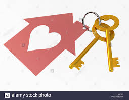 shapehouse golden house keys with red heart shape house icon illustration