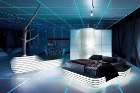 Futuristic Bedroom Design Daniel Simon Large Blue Futuristic Bedroom Design Neon Lights