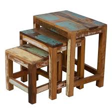 3 piece nesting tables stripped wood 3 piece nesting table trio free shipping today