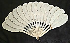 fan sticks edwardian folding fan bone sticks paper antique