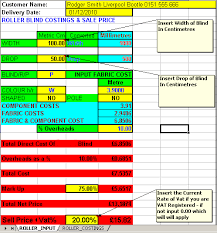 Blind Cost Window Blind Spreadsheets