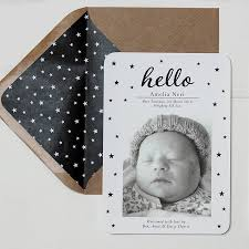 hello new baby birth announcement and thank you card by ditsy