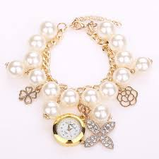 pearl bracelet watches images New arrival fashion pearl bracelet watch elegant clover chain jpg