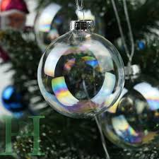 12 24 36 48pcs clear iridescent glass baubles balls