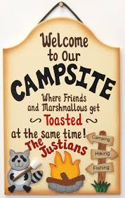 personalized funny wood camping sign where friends and