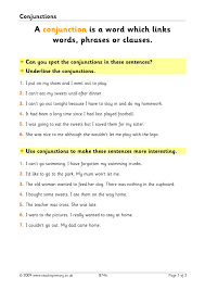 conjunction activities conjunctions and connectives home page