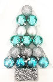 16 tree decor silver teal christmas festive hanging glitter bead