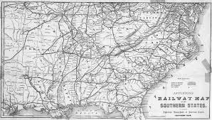 map of the us states in 1865 1865 southern us states railway map us mappery