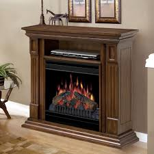 furniture brown wooden electric fireplace media console using