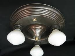 1930 Light Fixtures 3 Lite Flush Mount Ceiling Fixture 1930 S Tbba394 For Sale