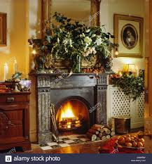 Christmas Living Room by Cast Iron Traditional Fireplace In Christmas Stock Photos U0026 Cast
