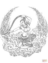 mother earth phra mae thorani coloring page free printable