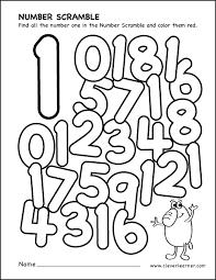 number scramble activity worksheet for number 1 for preschool children