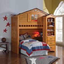 acme furniture kids fun tree house rustic oak wood twin loft bunk