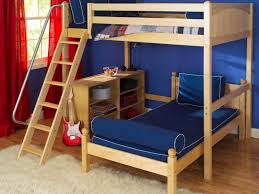 bunk beds wooden boy twin beds with colorful stripped bed linen